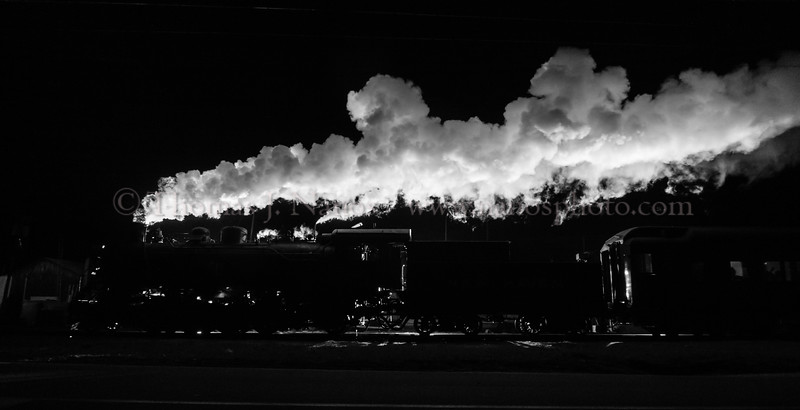 Behind the Lines - A completely backlit Valley Railroad North Pole Express in Chester, CT
