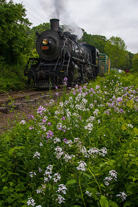 "Freight and Flowers Valley Railroad No 3025 preapres for another runby during the Lerro Productions photo shoot in May 2012.  Taken at the location known as ""Midway"" in Haddam, CT"