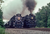 Photo 2915<br /> Nickel Plate Road 765 and Pere Marquette 1225; Hurricane, West Virginia<br /> August 9, 1991