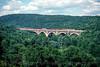 Photo 5233<br /> Delaware, Lackawanna & Western 807 and 808<br /> Martins Creek Viaduct, Kingsley, Pennsylvania<br /> July 1998