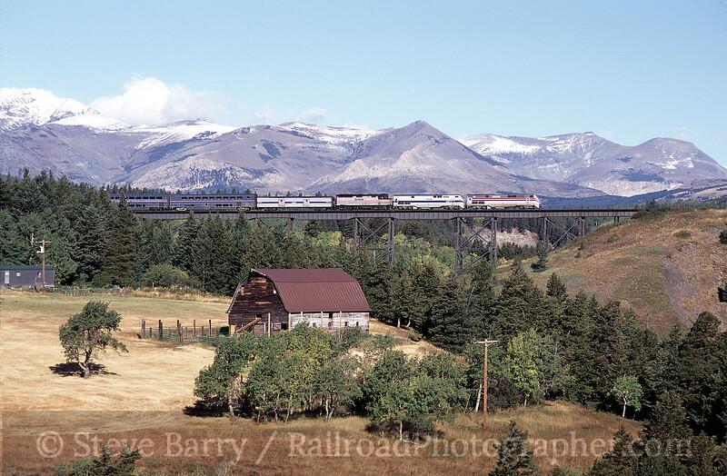 Photo 0902<br /> Amtrak; Two Medicine Bridge, Glacier Park, Montana<br /> April 2001
