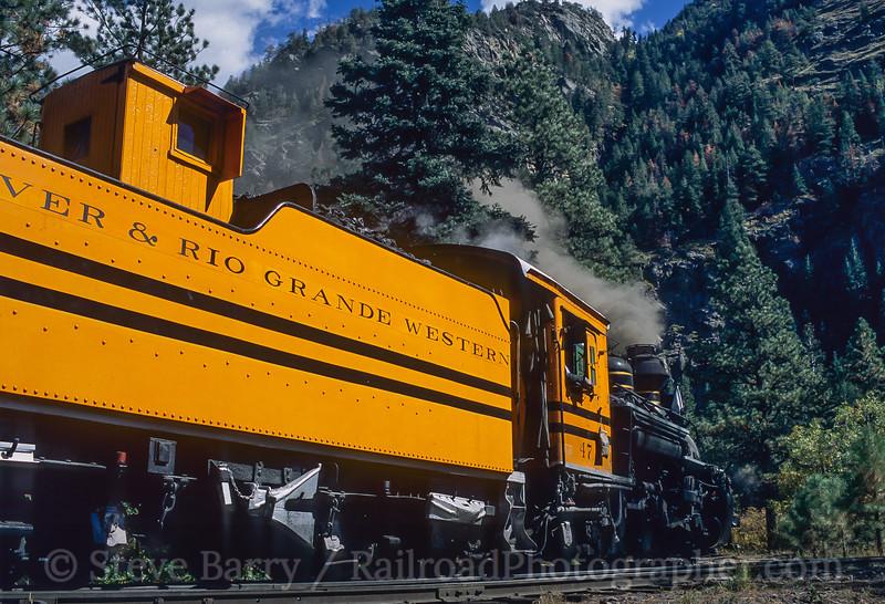 Photo 4453<br /> Durango & Silverton Narrow Gauge<br /> Cascade Wye, Colorado<br /> October 8, 2003