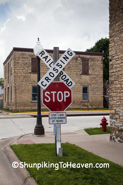 Railroad Crossing Sign, Bellevue, Iowa