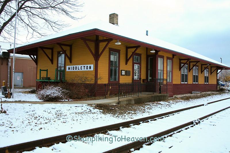 Middleton Railroad Depot in Winter, Dane County, Wisconsin