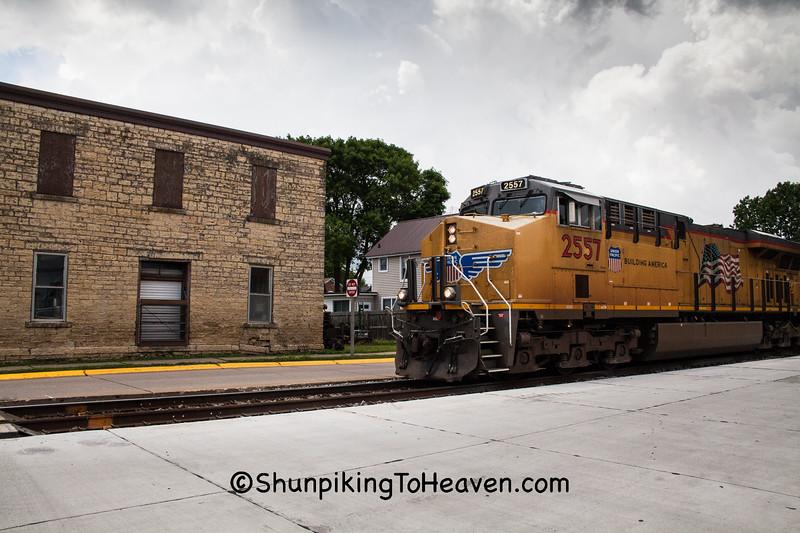 Union Pacific Train Street Running, Bellevue, Iowa
