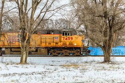 UP7459 sits near the yard in Council Bluffs, IA on a frigid cold day.