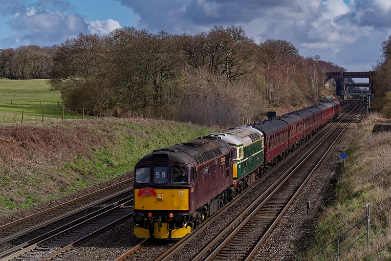 """33207 / 33012, with 1Z38, the 09:38 Victoria - Coleford Junction on 8th March 2020. <br /> The """"Devonian Crompton"""" was organised by the Branch Line Society and is shown at Totters Lane, Potbridge."""