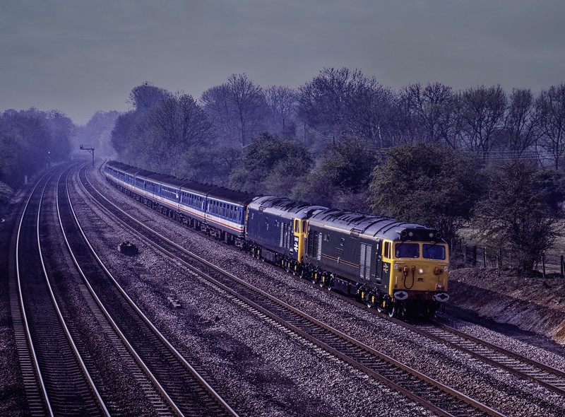 """50007 and 50050 (D400) at South Stoke, with 1Z38, the 08:20 Waterloo - Carlisle, <br /> on 11th April 1992. This was the """"Carlisle Fifty Farewell"""" organised by Network SouthEast and Rail magazine. Scanned Transparency."""