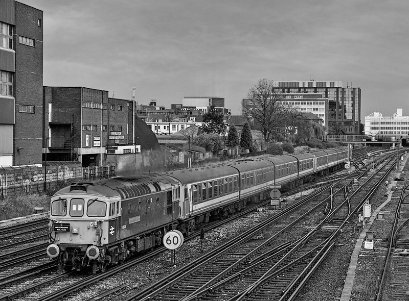 """33116, 4-CEP No. 2304 and 4-CIG No. 1886 at Wimbledon West Junction with 1Z40, <br /> the 09:45 Waterloo - Waterloo, on 1st April 1994. This was the """"Strawberry Fool"""" organised by Hertfordshire Rail Tours. It visited Shepperton, Hampton Court, Chessington South, Littlehampton, Bognor Regis and Norwood Junction. Scanned Negative."""