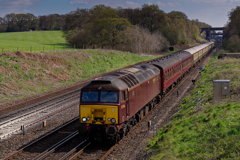 """57316 top & tailed with 57314 working 1Z66, the 05:51 Doncaster - Eastleigh <br /> """"Winchester Pullman"""". Shown at Totters Lane, Potbridge on 10th April 2019."""