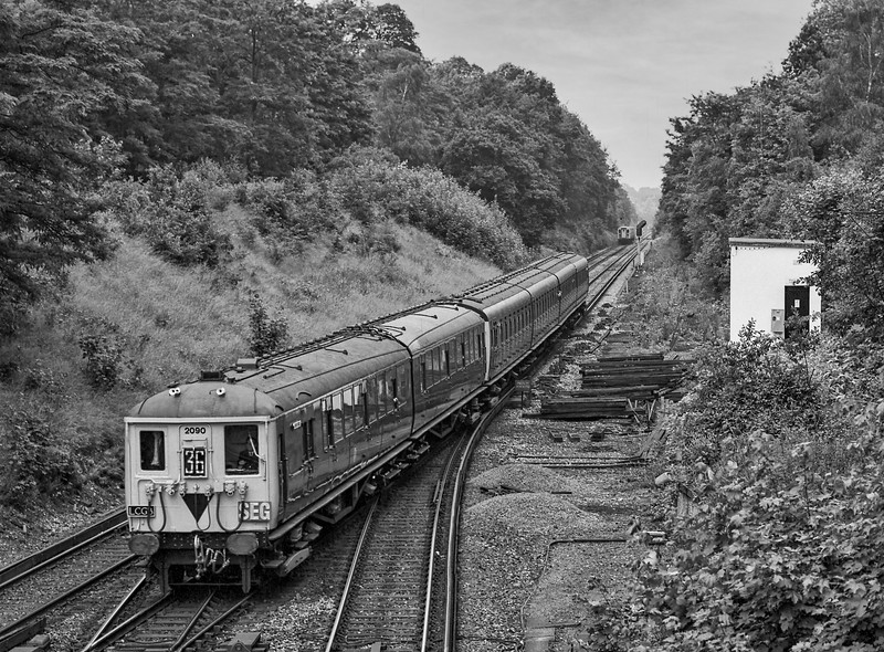 """2-BIL 2090 and 4-SUB 4732 at Virginia Water with the """"William and Mary"""" railtour, jontly organsed by the S.E.G, the L.C.G.B and the N.R.M on 29th June 1985. Scanned Negative."""
