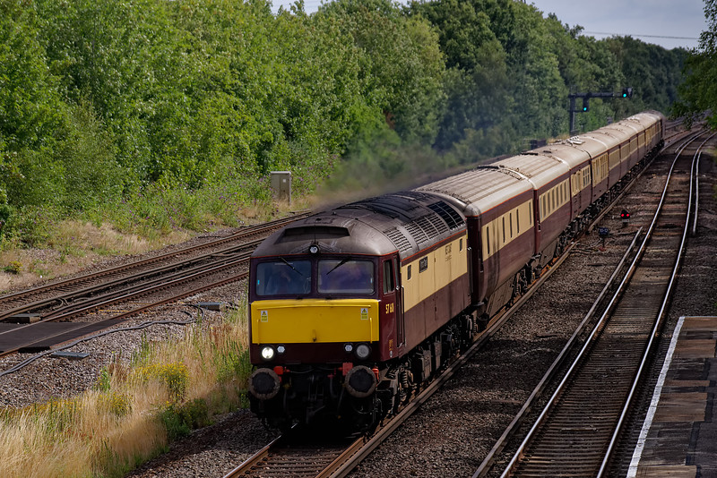 57601 top & tailed with 57314 on the Northern Belle. Shown passing Winchfield with 1Z80, the 10:05 Victoria - Weymouth. 11th August 2019.