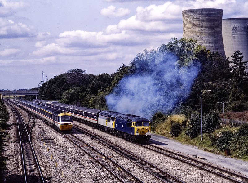 """56022 and 56025 at Didcot, Foxhall Junction after visiting the Power Station with 1Z36, the 06:28 Manchester - Paddington, via Morris Cowley, Hinksey Yard and Didcot Power Station, on 18th August 1991. This was """"The Strider"""" organised by Pathfinder Tours. <br /> HST bound for Paddington, on the up main. Scanned Transparency."""