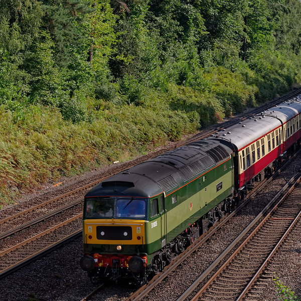 47805 (running as D1935) passes under the road bridge at St Johns, near Woking, with 1Z22, the 09:45 Victoria - Alton. Heading for a jolly at the Mid-Hants Railway. 31st August 2018.
