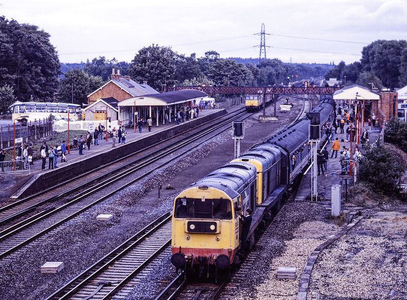 """20132 and 20020 at Winchfield with 1Z36, the 18:00 Woking - Waterloo, via Romsey, <br /> """"Test Valley Rambler II""""on 25th September 1988. This was a special service organised by Network SouthEast in connection with Winchfield 150. The two 20s worked <br /> Woking - Andover, Std Tank No. 80080 worked Andover - Romsey, the two 20s worked Romsey - Basingstoke, where 73001 and 73004 took over for the run up to Waterloo. Scanned Negative."""