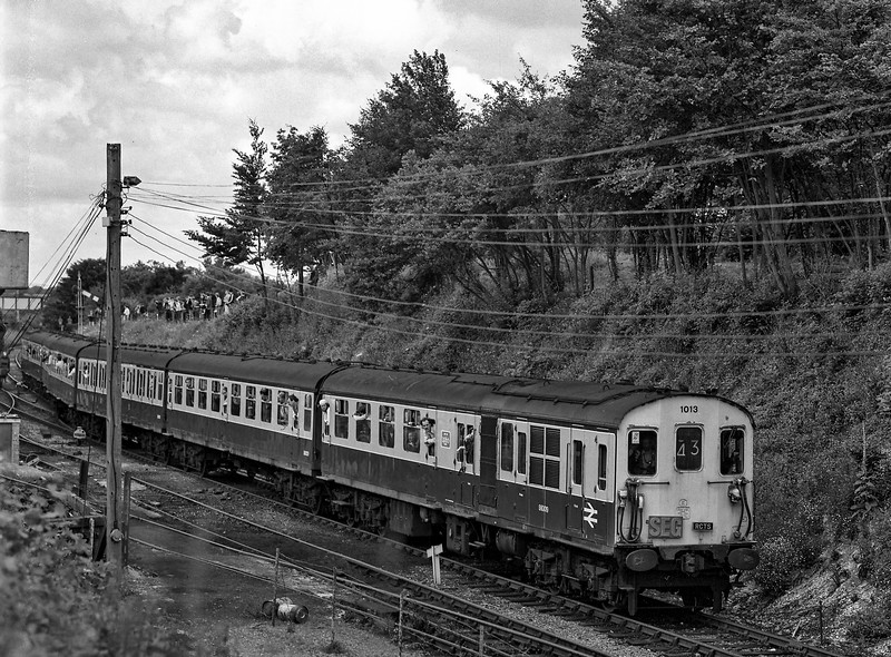 "Hasings DEMU No. 1013 at Ropley with 1Z48, the ""Hampshire Hog"" railtour organised by the S.E.G. and the R.C.T.S. on 20th July 1985. I believe this to be the first through working of a passenger train since the line was re-opened. Scanned Negative."