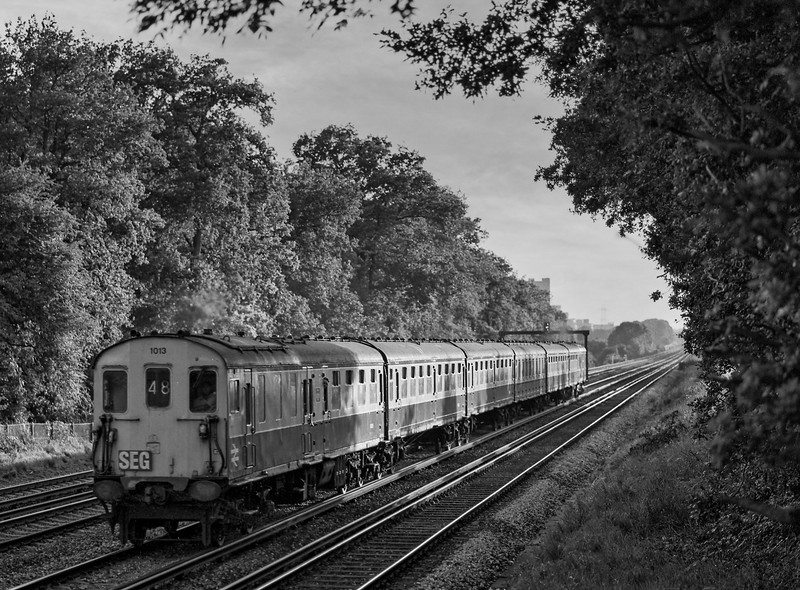 """Hasings DEMU No. 1013 at Old Basing with 1Z48, the """"Hampshire Hog"""" railtour organised by the S.E.G. and the R.C.T.S. on 20th July 1985.  Scanned Negative."""