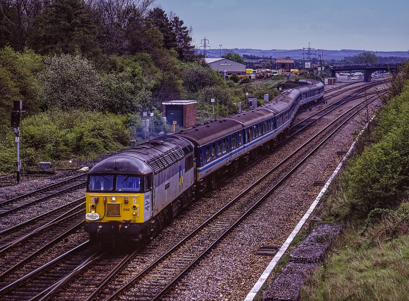 """56062  at Didcot Foxhall Junction with 1Z17, the 06:52 Liverpool Lime Street - Liverpool Lime Street, via Birmingham New Street, Westbury, Merehead Quarry, Cranmore, Whatley Quarry, Westbury, Bristol Parkway and Birmingham New Street, on 2nd May 1992. <br /> This was the """"Aggregator"""" organised by Pathfinder Tours. Scanned Transparency."""
