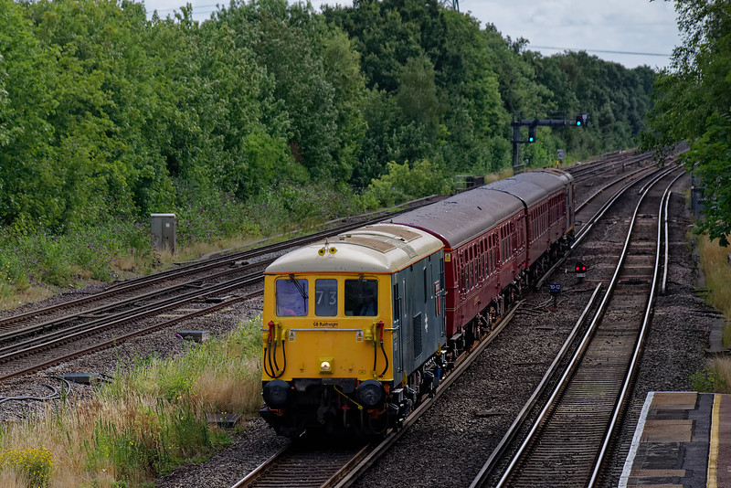 """73201 top & tailed with 73107 on the London Underground TC Unit. Shown passing Winchfield with 1Z73, the 09:44 Waterloo - Swanage. This was the third of UK Railtours """"Swanage Sunday Specials"""", on 11th August 2019."""