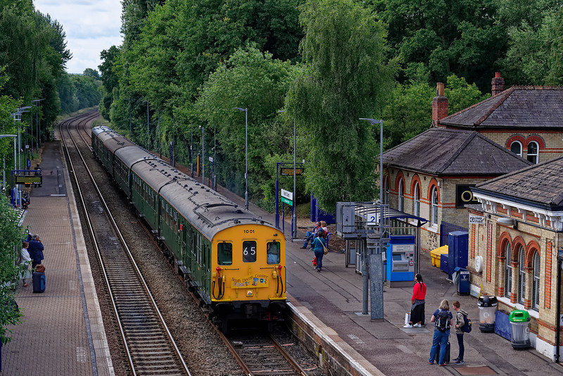 """Hastings Diesels DEMU 1001, passes North Camp, working 1Z65, the 06:42 Hastings - Paignton, """"South Devon Coaster"""" railtour on 16th June 2018."""