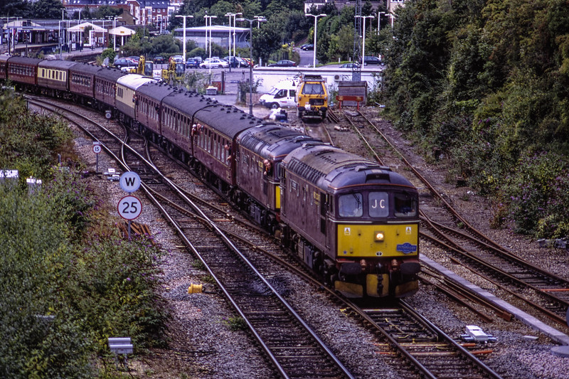 """33207 and 33025 at Basingstoke with 1Z34, the 14:36 Weymouth - Crewe, <br /> on 23rd August 2008. This was the """"Dorset Coast Express and Great Wey Round"""" <br /> organised by Pathfinder Tours. Scanned Transparency."""