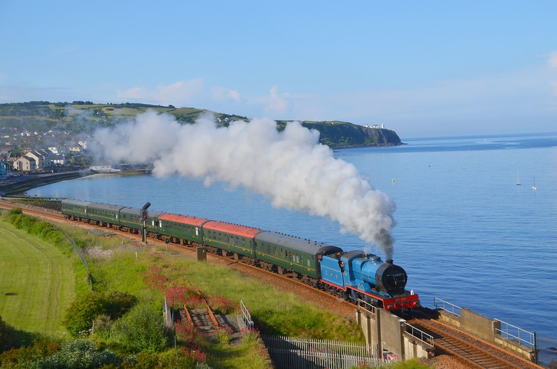 No.85 departs Whitehead in glorious summer weather, Bound for Belfast Central.