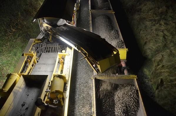 Irish Rail ballast cleaner , No.781 at work near Broomhedge. Sun 21.01.18