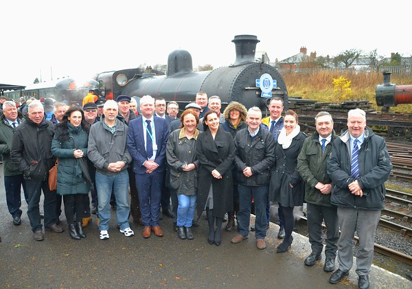 Past & Present members of staff of Northern Ireland Railways at Whitehead RPSI after the arrival of the special #NIR50 from Great Victoria Street. Weds 04.04.18