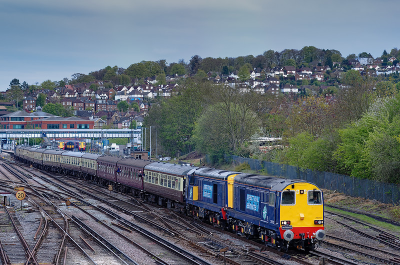 "Viewed from Yorkies Bridge,  20312 / 20308 top & tailed with 37409, depart Guildford with 1Z63, the 16:20 Southampton West docks - Crewe. This was the ""Hampshire Hotchpotch"" railtour, run by Pathfinder Railtours on 5th May 2012."