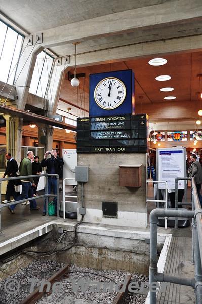 The impressive art deco style first train indicator at Uxbridge.  Sun 15.05.11
