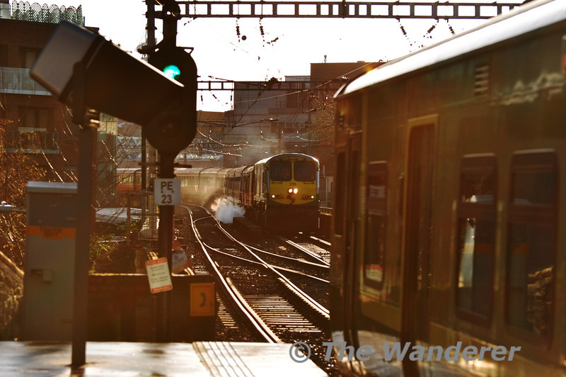 Following on from the use of 071 Class locos on the RPSI Santa Specials to Maynooth for the first two weekends of December the last weekend produced a pleasant surprise in the form of 201 Class 215.  It is seen just after departing Pearse with the 1030 Special to Maynooth. Sat 17.12.11