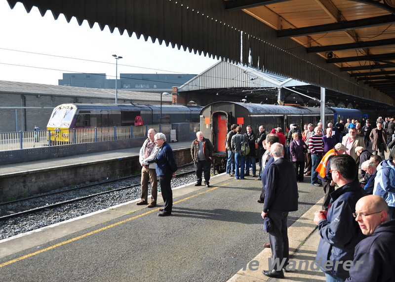 Dublin Connolly on Saturday morning as the railtour passengers wait for 461 to arrive from the yard. Sat 24.03.12