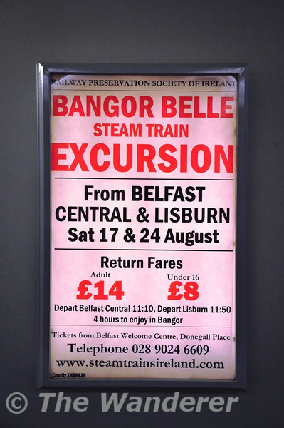 RPSI advert for the Bangor Belle at Belfast Central. Done in the classic railway style. Kudos! Sat 24.08.13