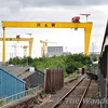 After a brief call at Belfast Central, 186 crosses over to the Down Road in the shadow of Samson and Goliath, the Harland & Wolff cranes. Sat 24.08.13