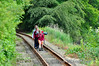 Walking the track. Appartently this trio were on a 50km walk for the weekend. Not sure where they accessed the railway line! Mount Congreve. Sat 28.06.14