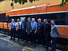 Some of the RPSI and IE staff who made this tour possible pose for a photo at Killarney. Left to right are Westport Guard Noel Enright, RPSI loco officer Gerry Mooney, Connolly District Traffic Executive John Sinclair, Philip Clampett, C.M.E. Fleet Technical Support, Heuston District Traction Executive Tony Cooke, Connolly District Traction Executive Lar Griffin, Driver Ken Fox, Cork and Senior Timetable Planner Stephen King. Sat 14.10.17 <br /> <br /> Photo courtesy of JOR.