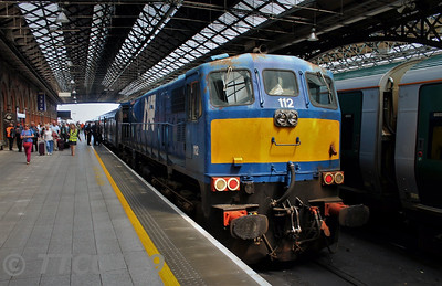 112 at Connolly with the 0936 Whitehead RPSI - Connolly Ety. 85 would bring the MK2 set to Belfast and Whitehead at 1445 for the northern leg of the Emerald Isle Explorer. Tues 20.06.17 <br /> <br /> Photo courtesy of TTC0169.