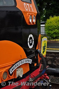 071 with the Railtour Ireland and Emerald Isle Express nameplates. Plus note the CIE logo on 071. Wed 13.06.18