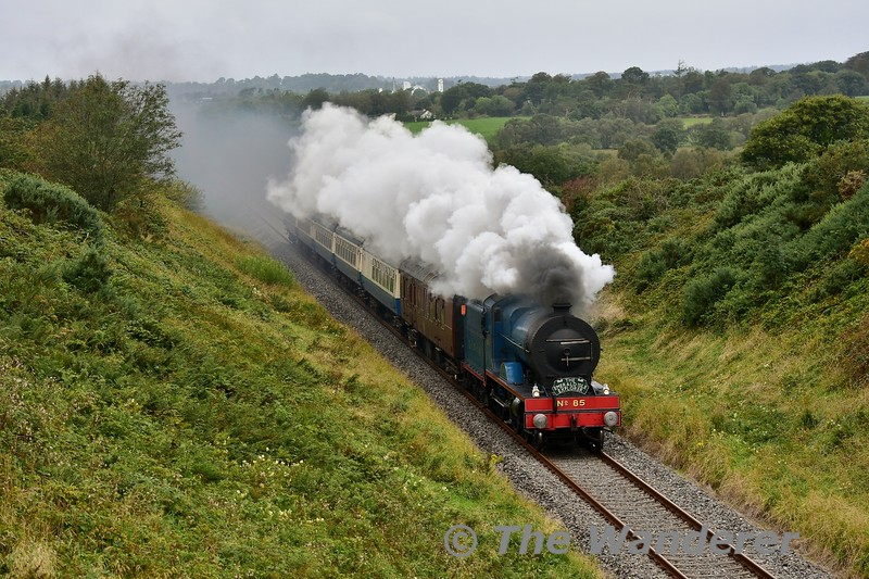 "85 storms up the 1 in 98 gradient at Tober between Rathmore and Millstreet with the 1021 Killarney - Cork leg of the ""Emerald Isle Explorer"". Sat 07.09.19"