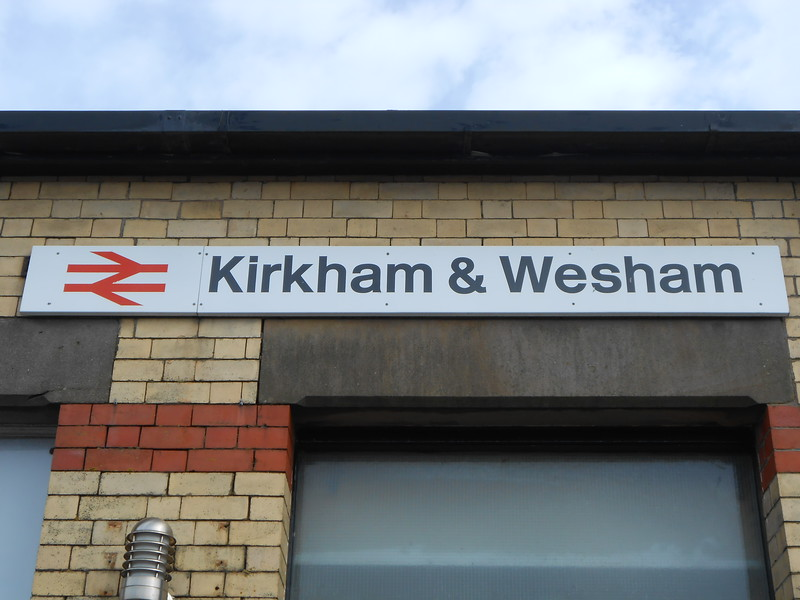 29th April 2016 <br /> <br /> Old style BR Station Name sign at Kirkham & Wesham