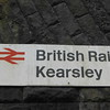 27th May 2016 <br /> <br /> Old BR Sign outside Kearsley Station by entrance
