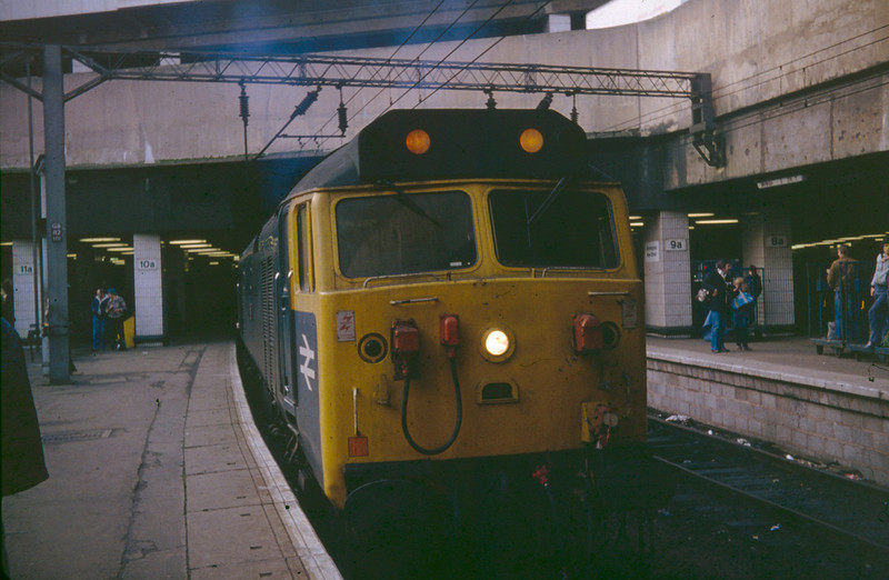 50006 'Neptune', refurbished but still in BR Blue, awaits to depart Birmingham New Street with I believe a Manchester Picadilly to Paddington Service on December 28th 1982.