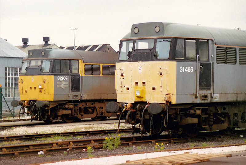 31207+31466 inside BRML Doncaster on 16th May 1993. Not  the differing position of the front headlights..??