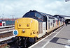 37073+37110 on a booked photo stop at Bristol Temple meads in charge of the 1Z43 06:50 Crewe to Penzance CFA 'The Cornishman' on 31st May 1993
