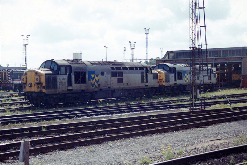 37042 + 37046 on shed at Bristol Bath Road on 31st May 1993