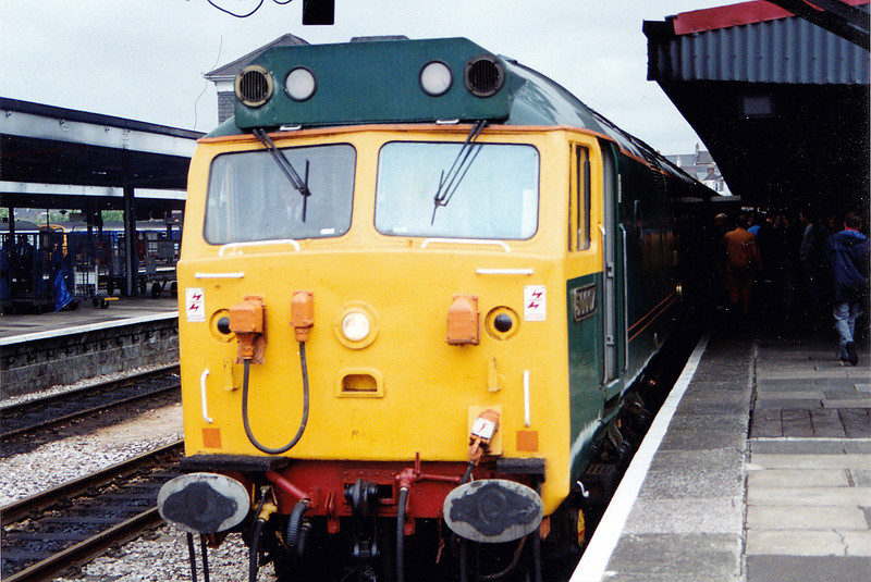 50007 awaits departure from Plymouth with the final 79.5 miles to Penzance with the 1Z43 06:50 Crewe to Penzance CFA 'The Cornishman' railtour  on 31st May 1993