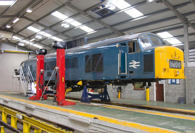 46035 on the jacks at Midland Road Depot, Leeds on May Day Bank Holiday 2nd May 2004.