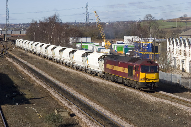 60058 departing HM with a 6D72 HM to Rylstone stone empties on 1st March 2006