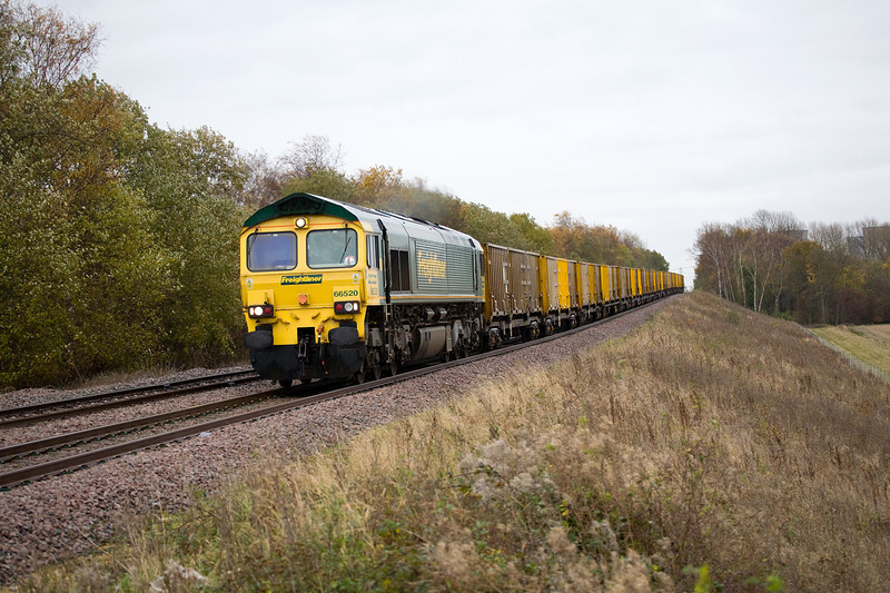66520 rools down grade at Booths No1 Crossing (Tilts) with a 6M05 Roxby to Northenden on November 10th 2008