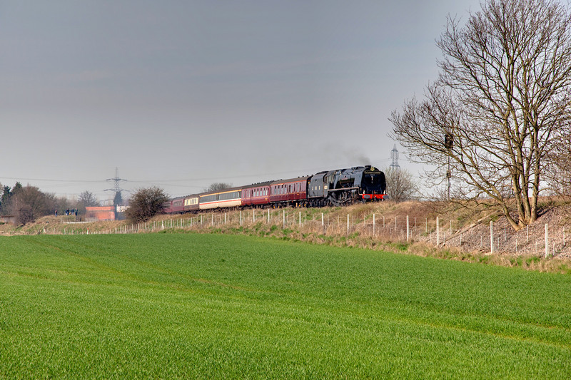 """6233 is seen passing Burton Salmon with a 1Z41 Leicester to Scarborough """"Yorkshire Coronation"""" railtour on April 10th 2010."""